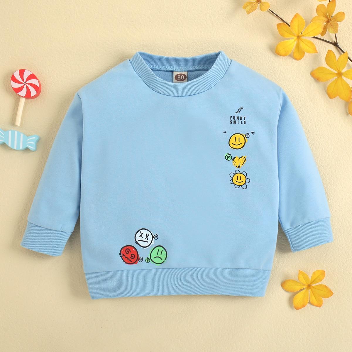 детский Пуловер с мультипликационным и текстовым принтом SheIn sk2107272282876887