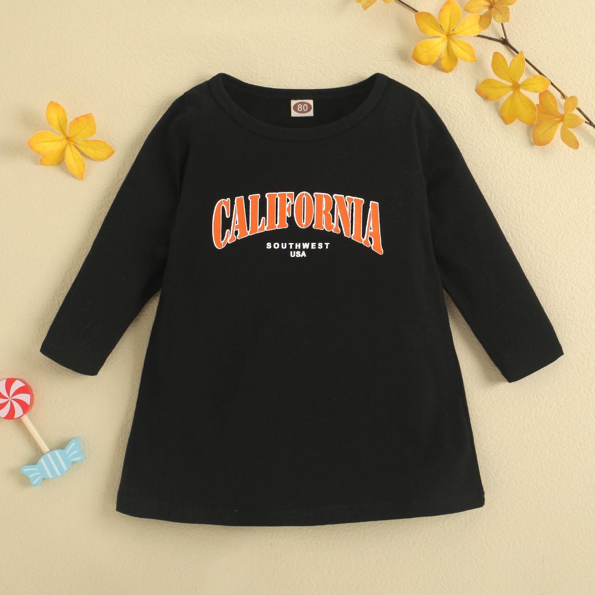 Детское платье-футболка с текстовым принтом от SHEIN