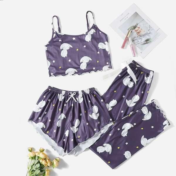 3pcs Cartoon Rabbit & Star Print Lettuce Trim PJ Set, Purple