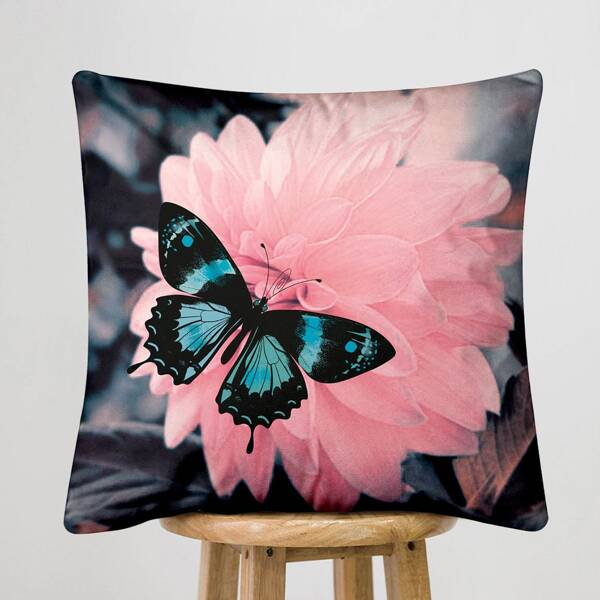 Butterfly & Flower Print Cushion Cover Without Filler, Multicolor