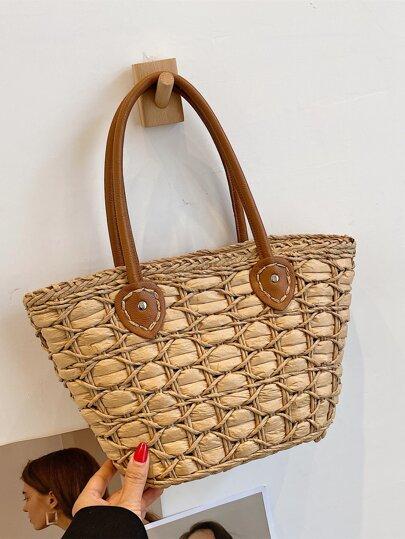Large Capacity Braided Detail Tote Bag