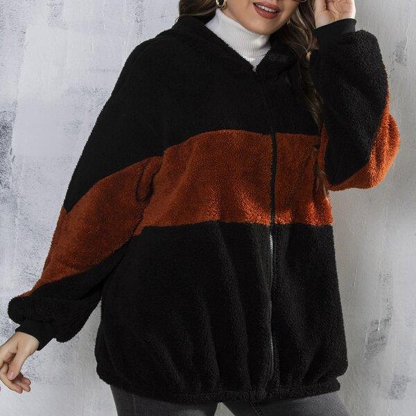 Plus Two Tone Zip Up Drop Shoulder Hooded Flannel Coat, Multicolor