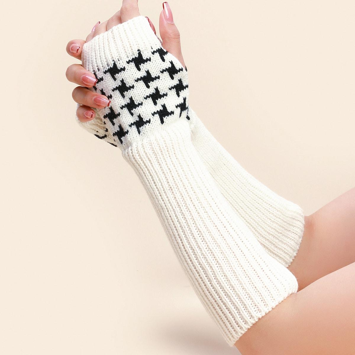 Вязаные длинные перчатки