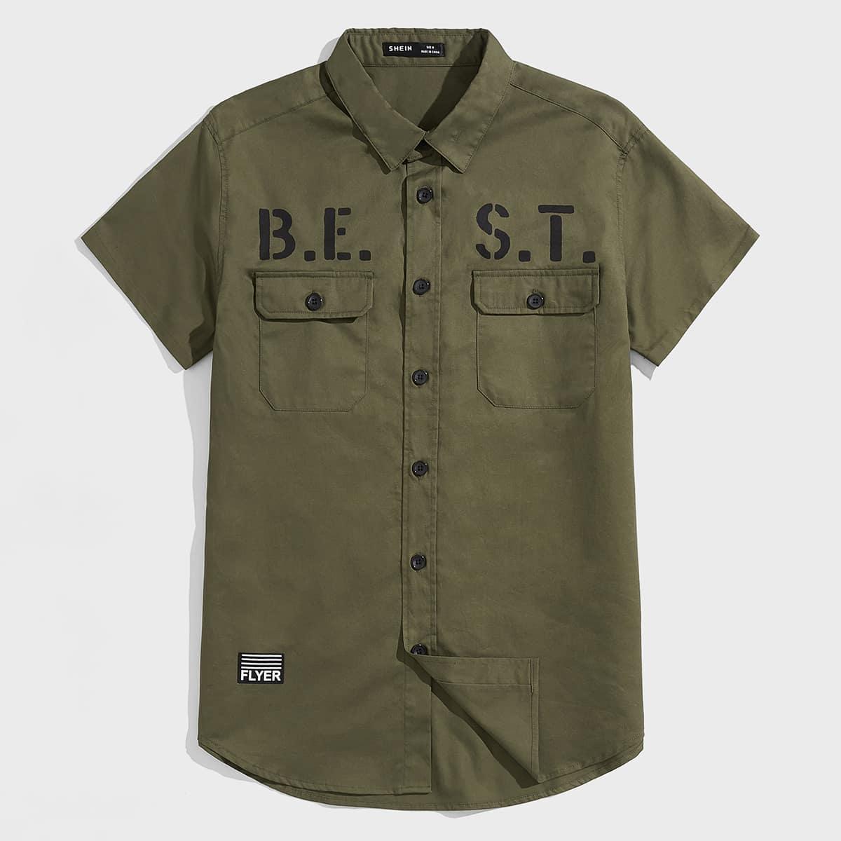 Мужской Рубашка с текстовым принтом с заплатой с карманом