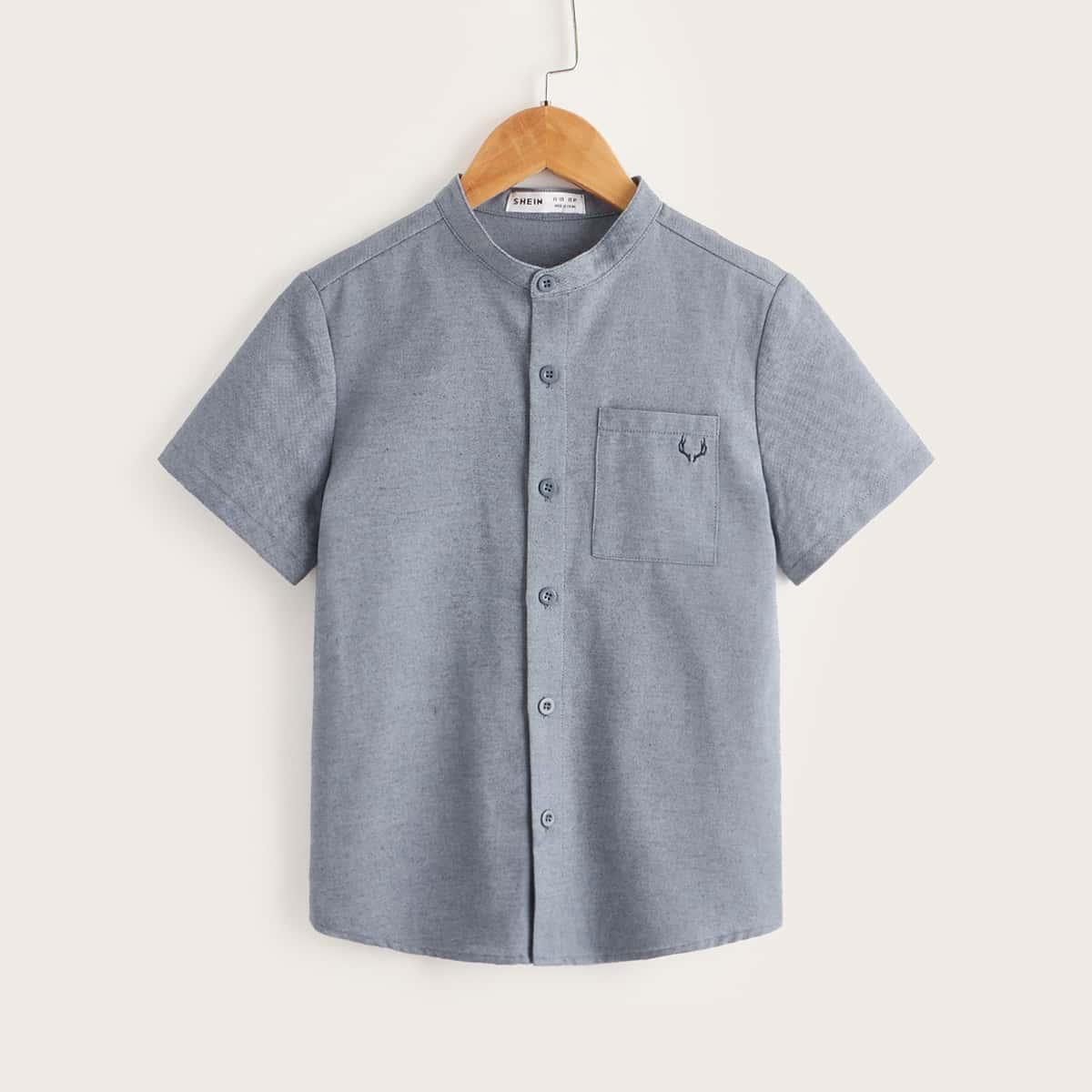 для мальчиков Рубашка оленьи рога вышивкой с карманом