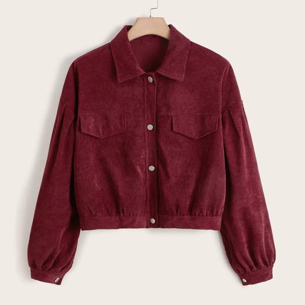 Plus Drop Shoulder Flap Detail Corduroy Jacket, Burgundy
