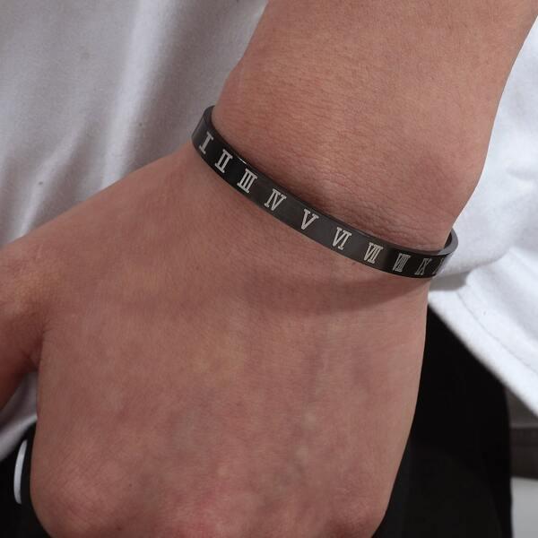 Men Roman Numeral Decor Bracelet, Black