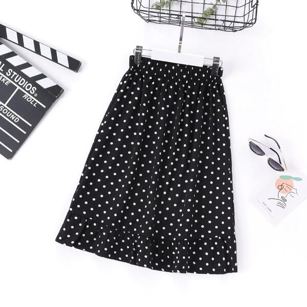 Girls Polka Dot Print Ruffle Hem Skirt, Black and white