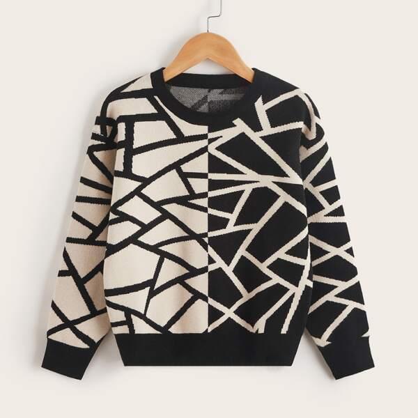 Boys Geo Print Colorblock Sweater, Black and white