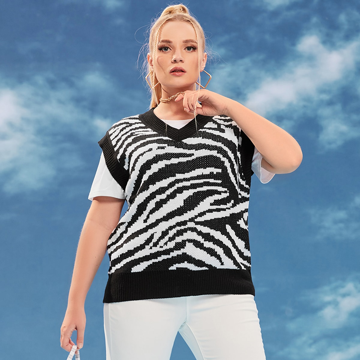 Plus Zebra Stripe Pattern Sweater Vest Without Tee