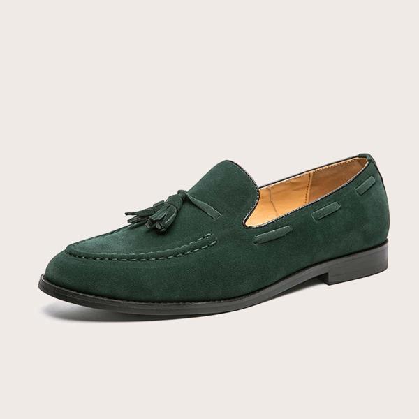 Men Suede Slip-on Tassel Loafers, Green