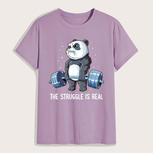 Men Panda And Slogan Graphic Tee, Dusty purple