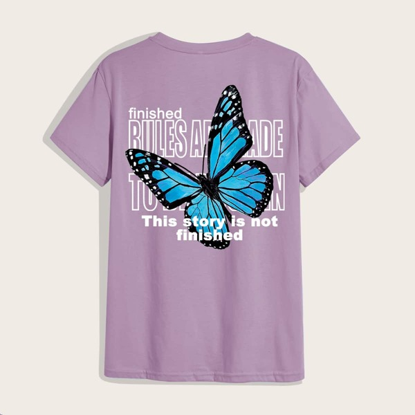 Men Butterfly And Slogan Graphic Tee, Dusty purple