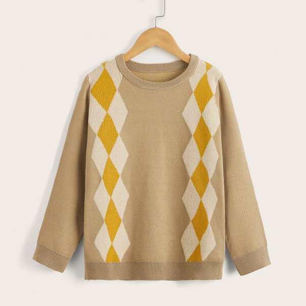 Boys Round Neck Argyle Pattern Sweater, Khaki