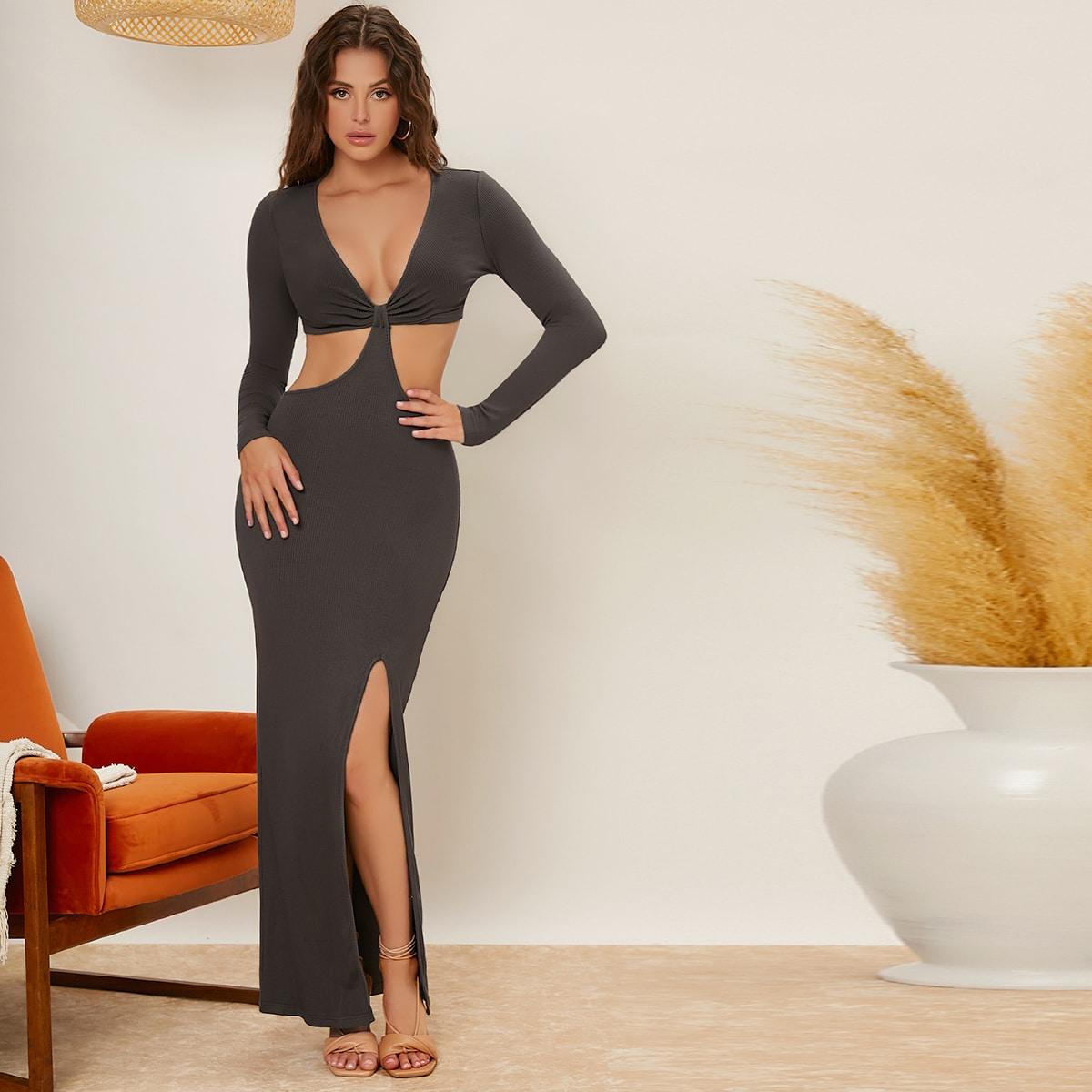 Платье с разрезом высоким разрезом SheIn sw2106192649614724