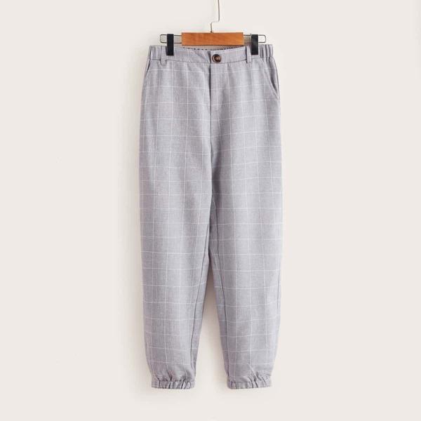 Boys Grid Print Slant Pocket Pants, Light grey