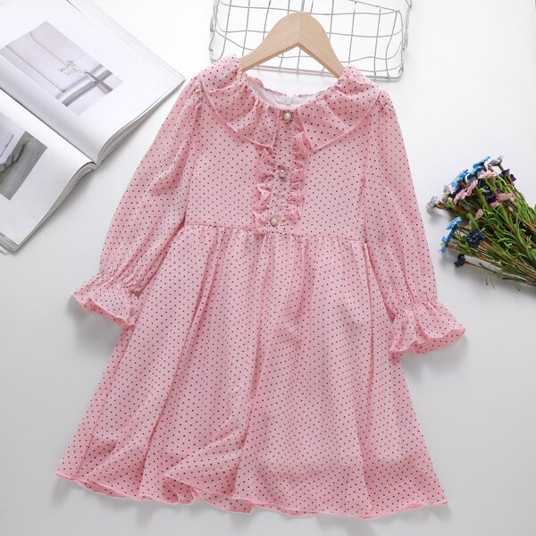 Girls Polka Dot Print Frill Trim Flounce Sleeve Chiffon Dress, Baby pink