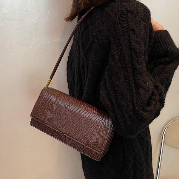 Minimalist Textured Flap Baguette Bag, Coffee brown