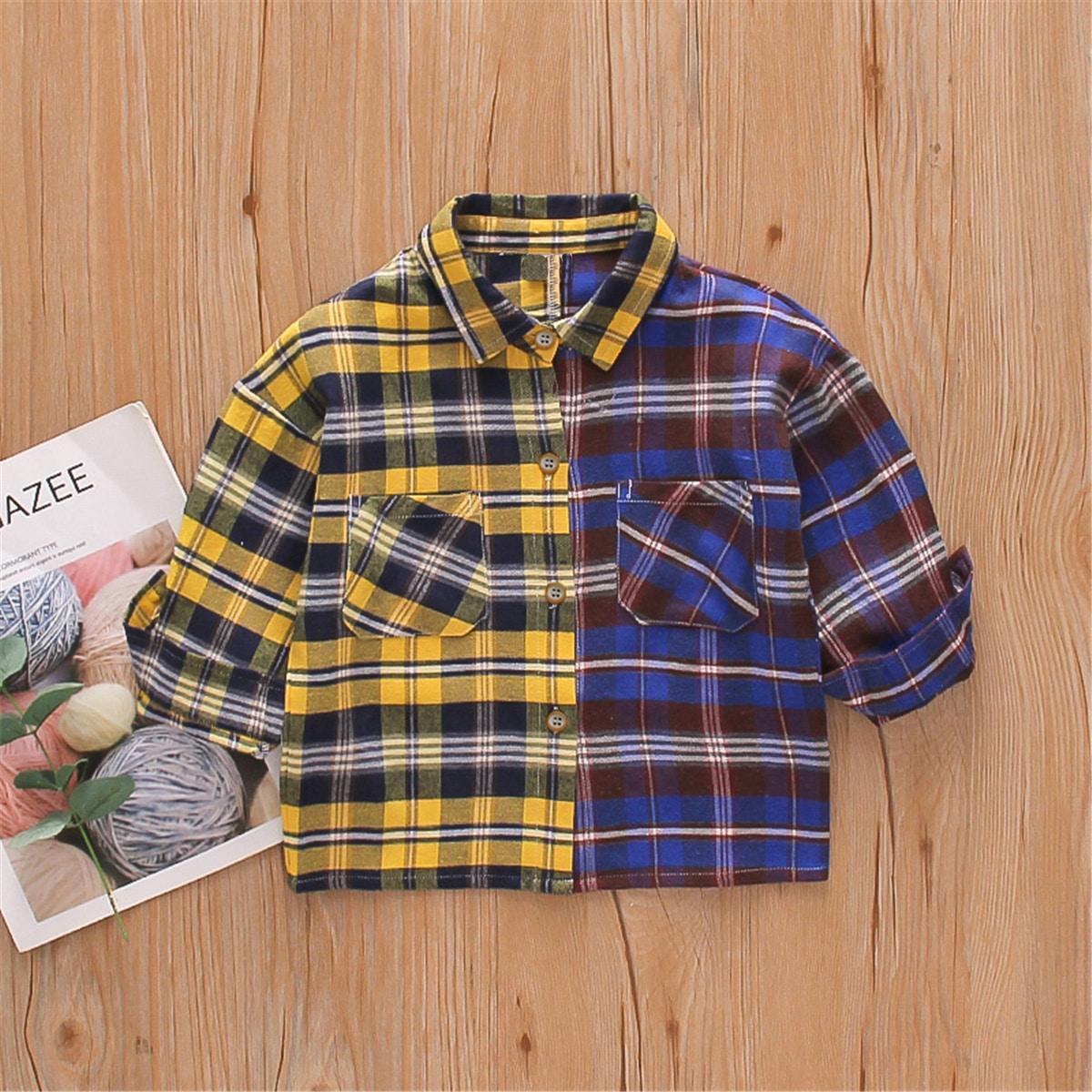 Контрастная рубашка в клетку для мальчиков