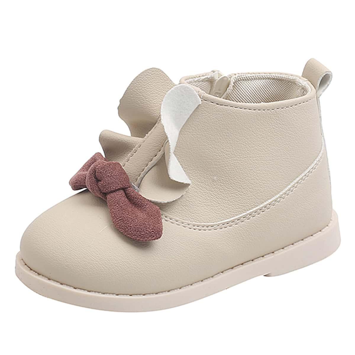 Ботинки для девочек с оборками и бантом SheIn sk2108112726058456