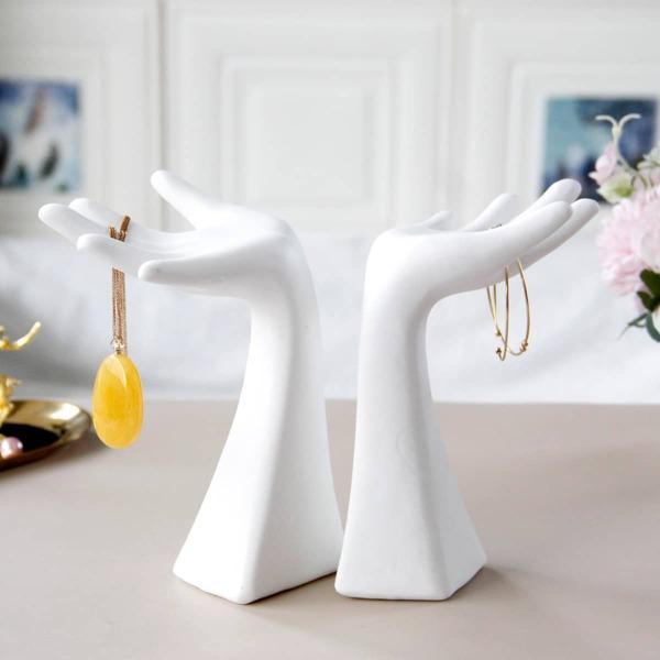 1шт Стеллаж для хранения ювелирных изделий в форме руки, Белый