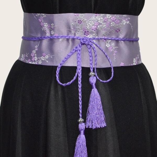 Tassel Decor Flower Embroidered Corset Belt, Purple