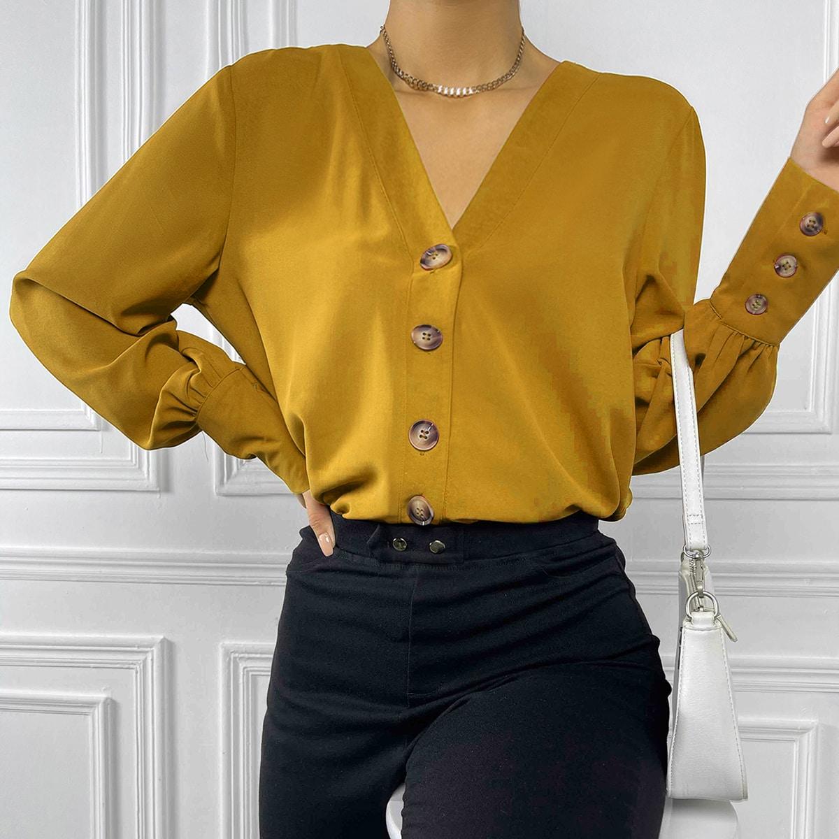 Однотонная блуза с оригинальным рукавом и пуговицами SheIn sw2107083394144144