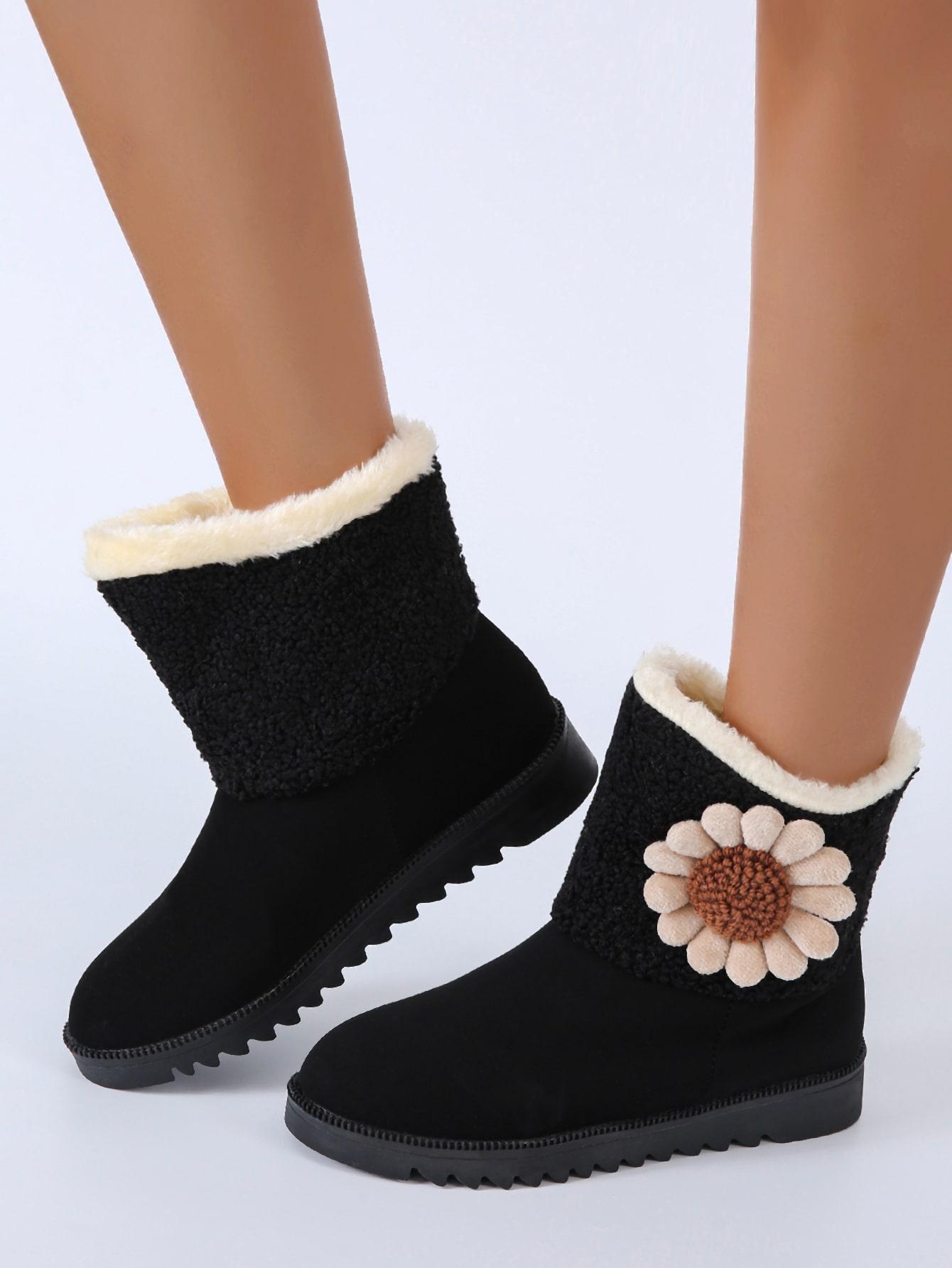 Floral Decor Plush Inside Snow Boots