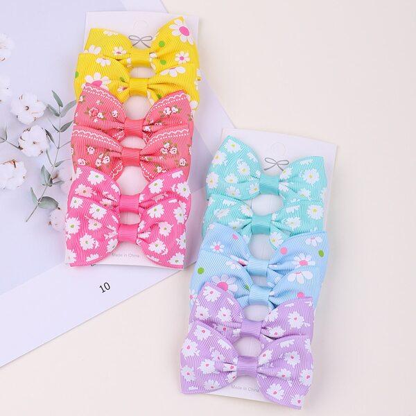 12pcs Toddler Girls Bow Decor Hair Clip, Multicolor