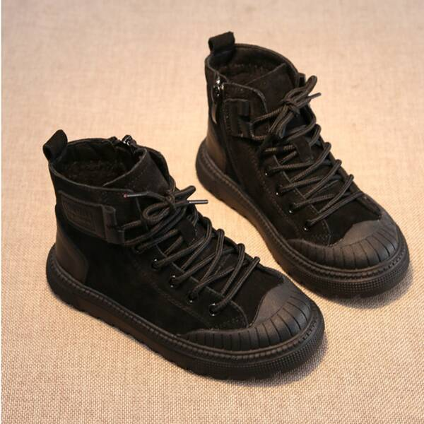 Boys Minimalist Lace Up Front Boots, Black