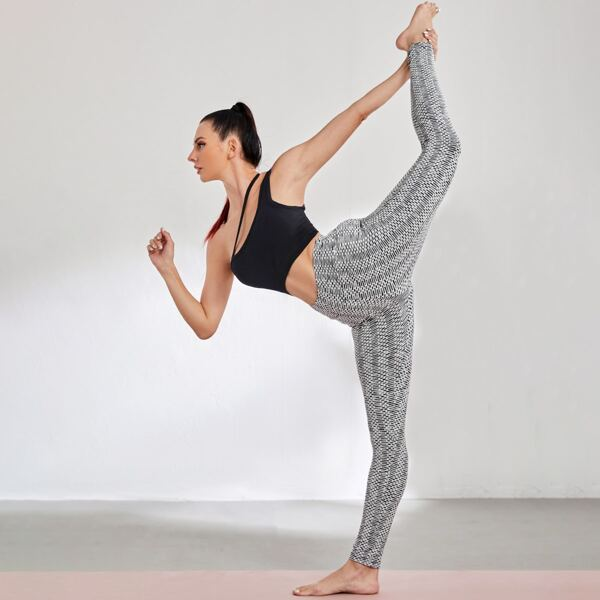 Honeycomb Textured Softness Breathable Sports Leggings, Black and white