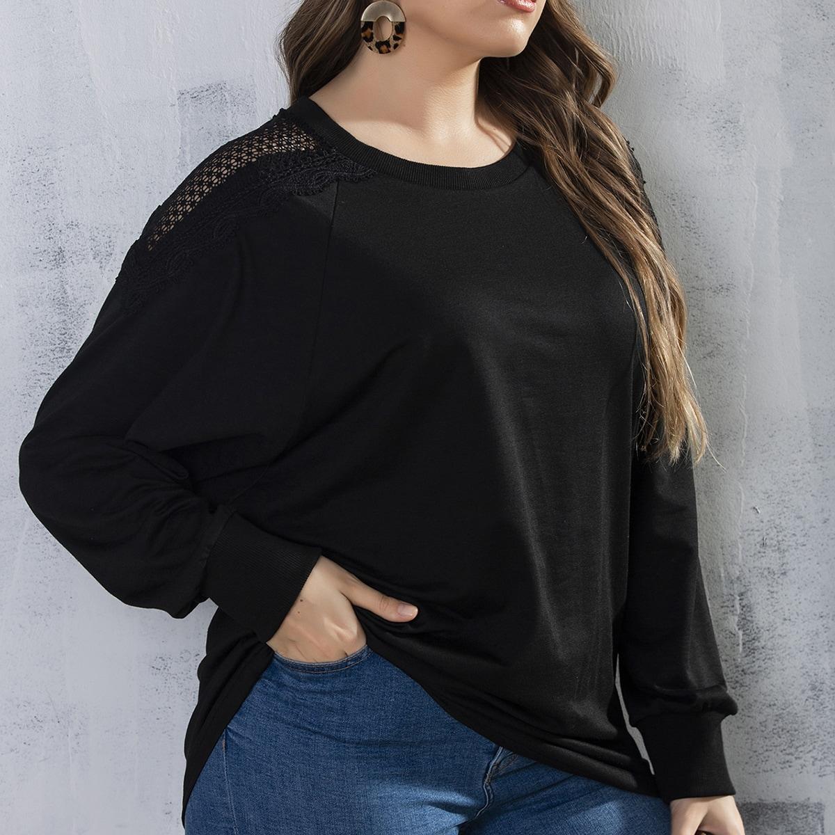 размера плюс Пуловер с кружевной отделкой с рукавом-реглан