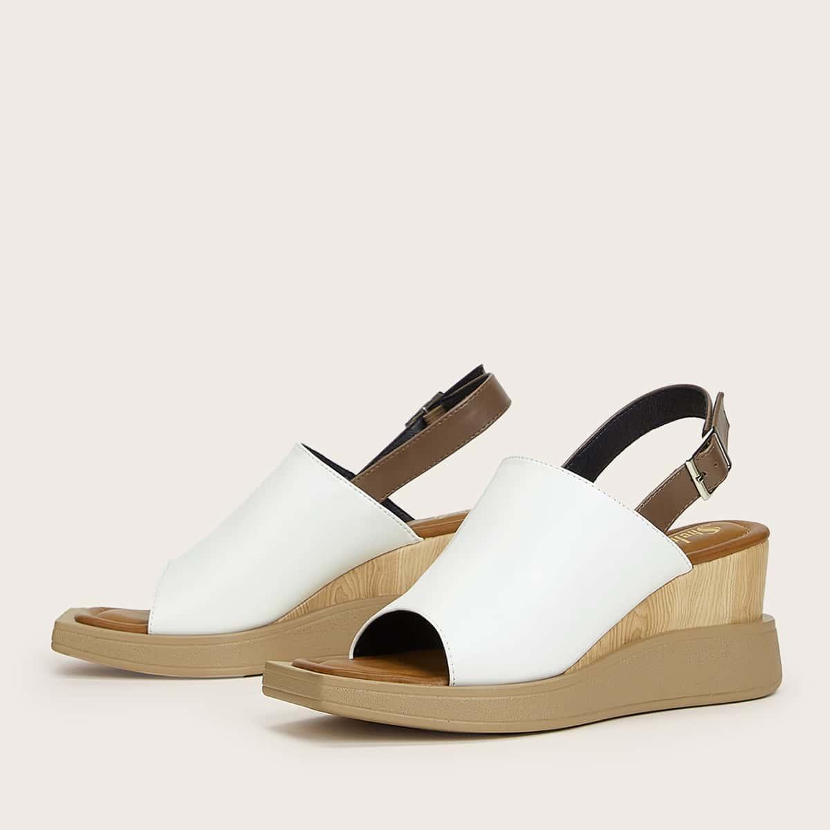 Two Tone Slingback Wedge Sandals