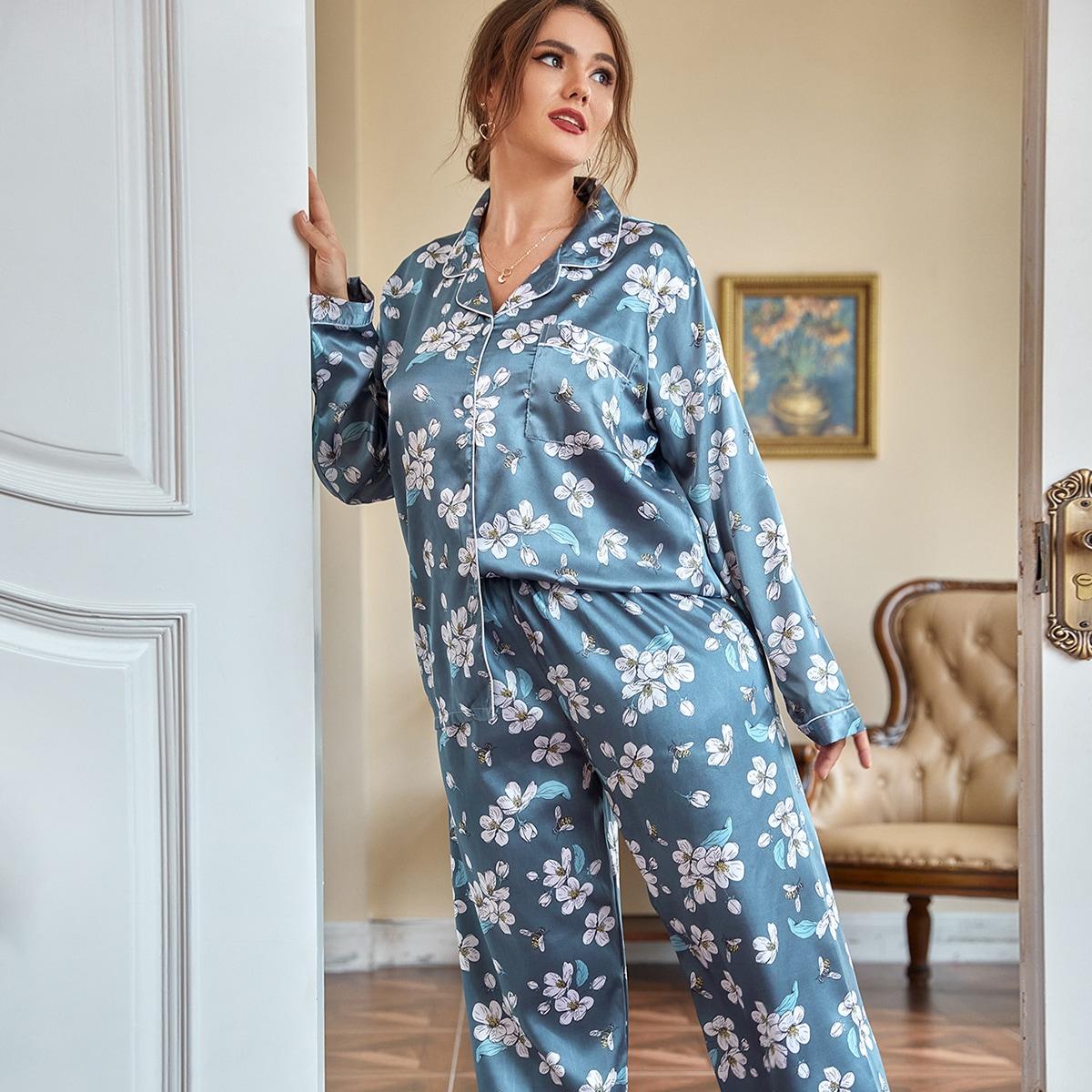 размера плюс Пижама с цветочным принтом заплатка карманом из атласа