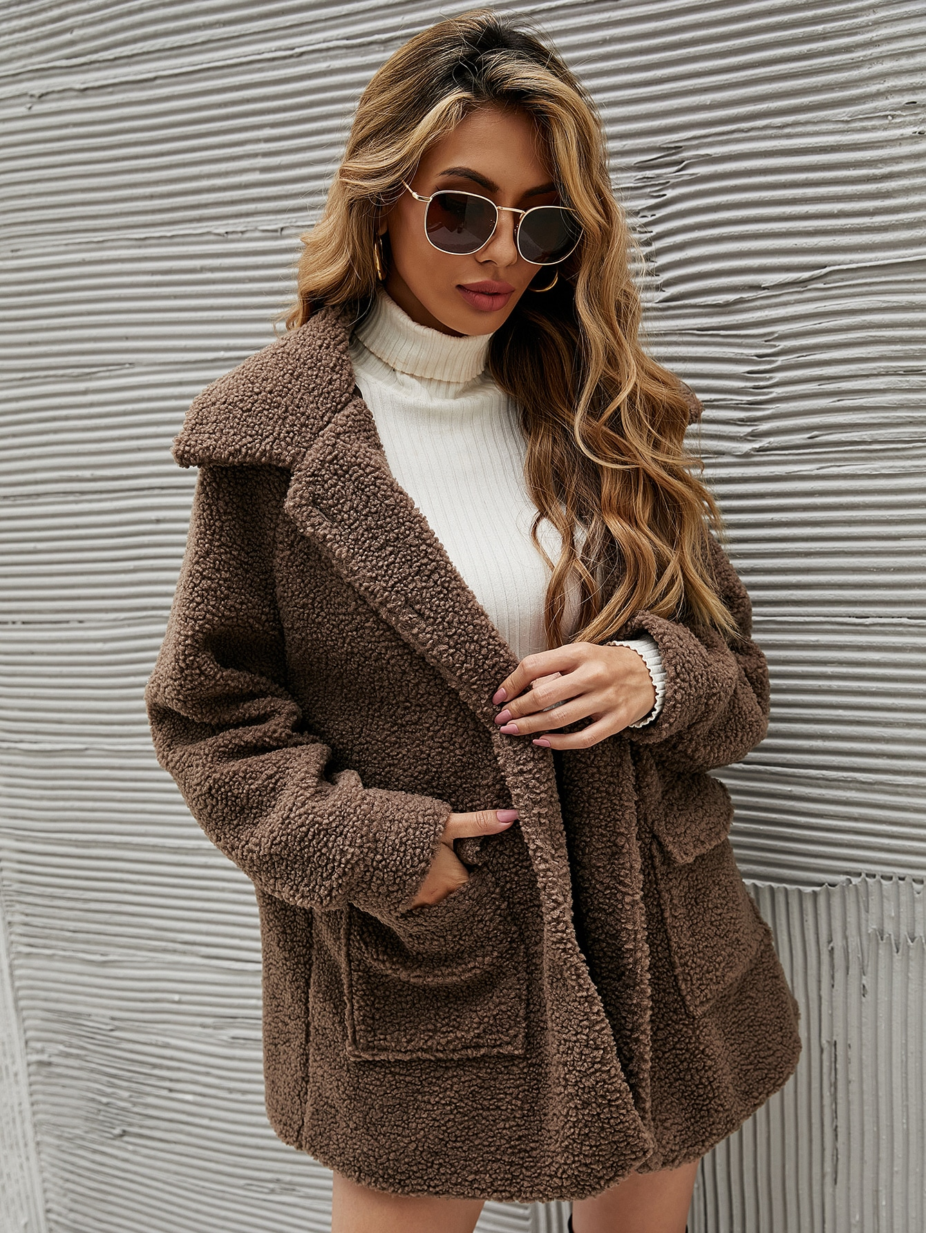 Плюшевое пальто с карманом с рукавом-регланsw2107064427500033