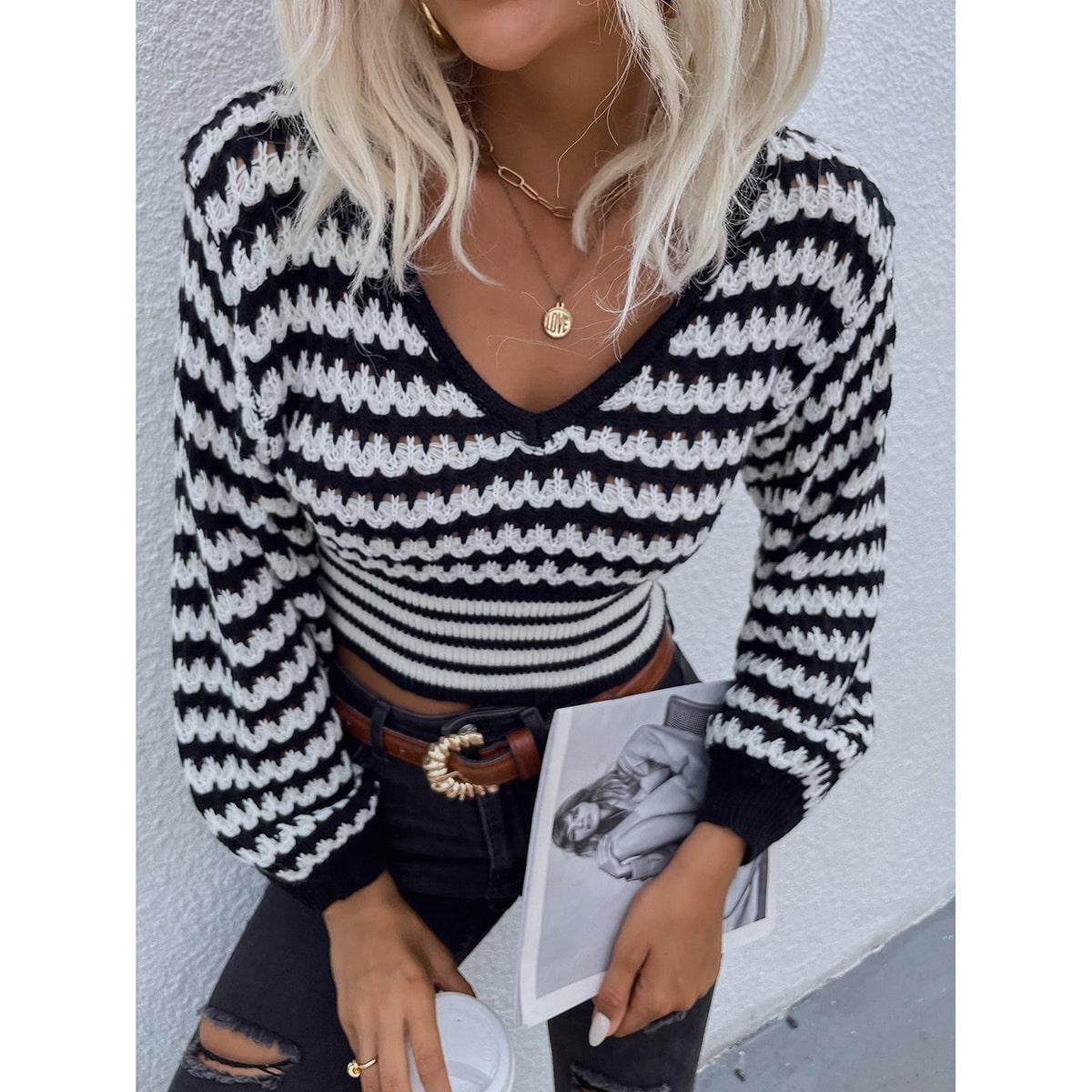 Jersey corto con patrón de rayas de manga farol