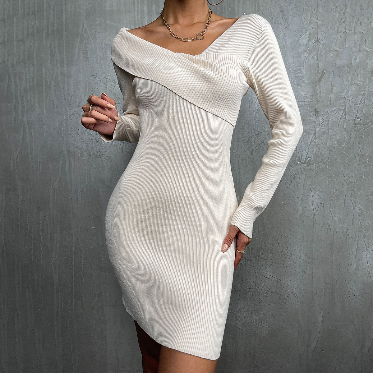Asymmetrical Neck Sweater Dress, SHEIN  - buy with discount