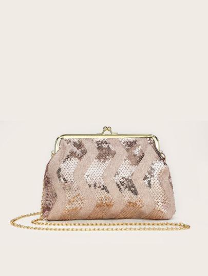 Sequins Decor Chain Novelty Bag