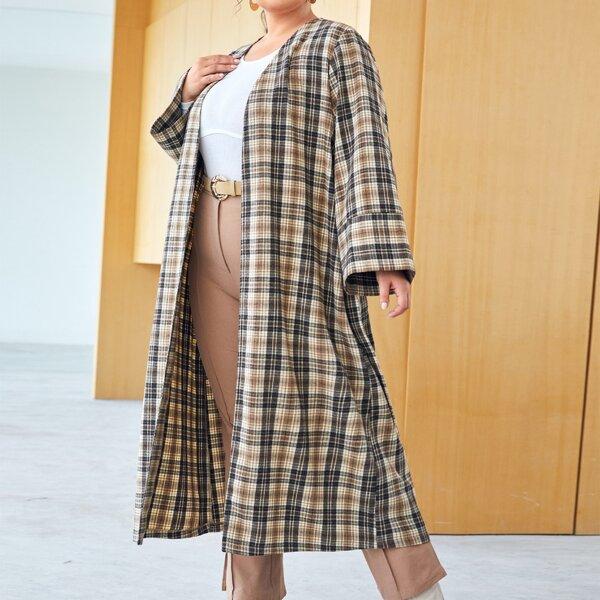 Plus Tartan Pattern Open Front Belted Wool-Mix Coat, Multicolor