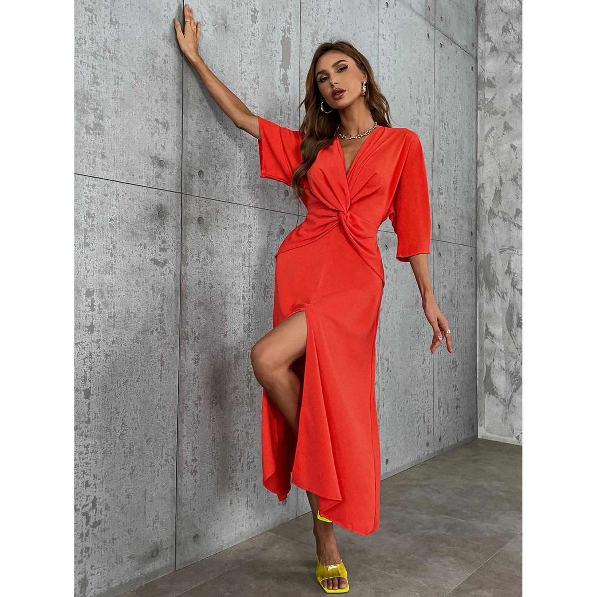 Batwing Sleeve Twist Front Split Thigh Dress, SHEIN  - buy with discount
