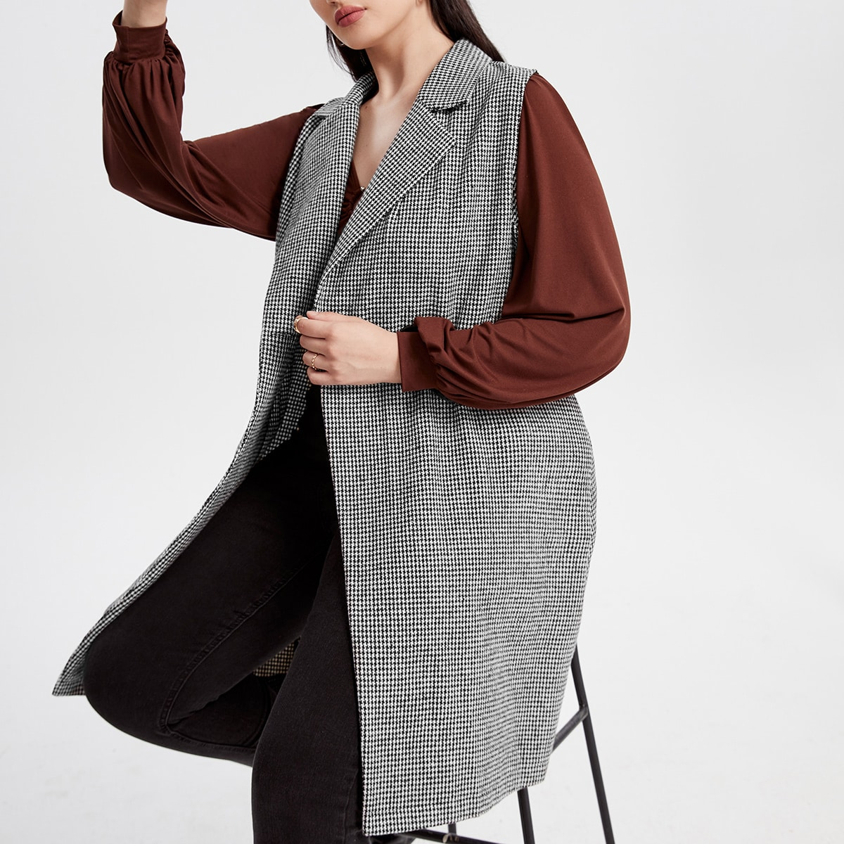 Plus Houndstooth Single Button Belted Vest Coat, SHEIN  - buy with discount
