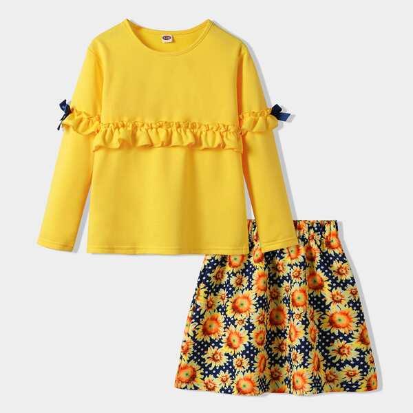 Girls Frill Trim Bow Side Tee & Polka Dot Floral Print Skirt, Multicolor