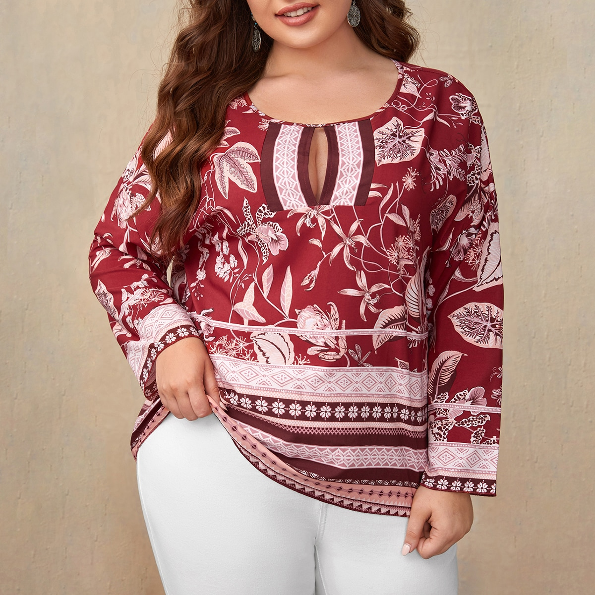 Plus Floral Print Keyhole Neckline Blouse, SHEIN  - buy with discount