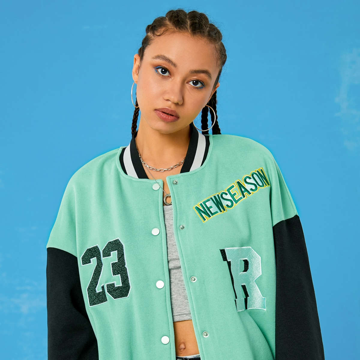 Letter Embroidery Colorblock Baseball Jacket