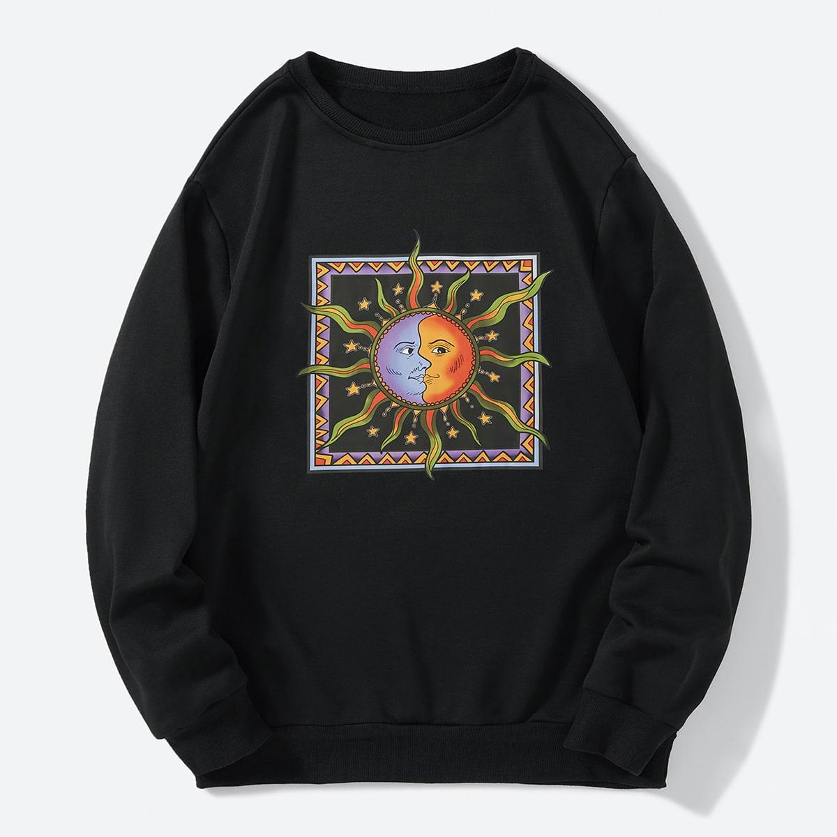 Men Abstract Sun Print Sweatshirt