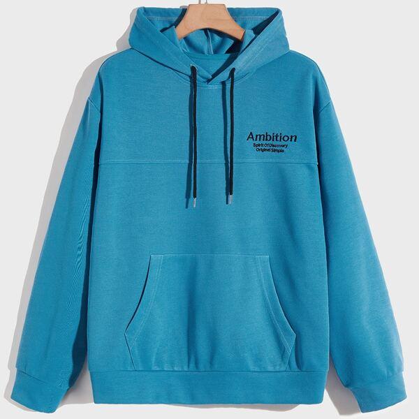 Men Slogan Embroidery Kangaroo Pocket Drawstring Hoodie, Blue