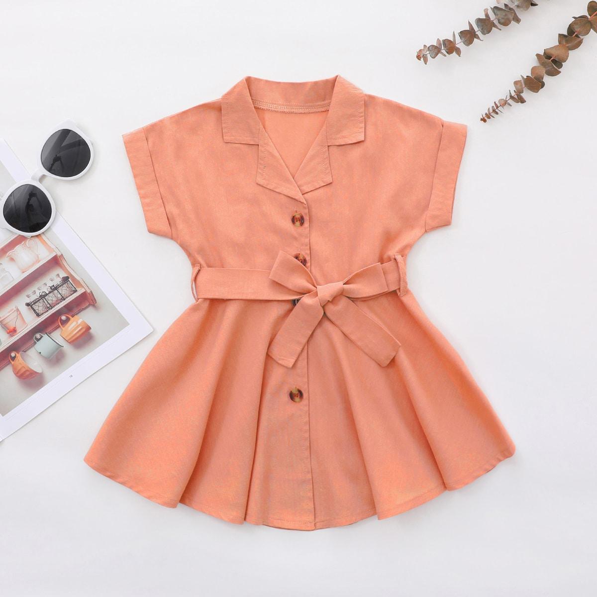Платье-рубашка с поясом на пуговицах для девочек от SHEIN