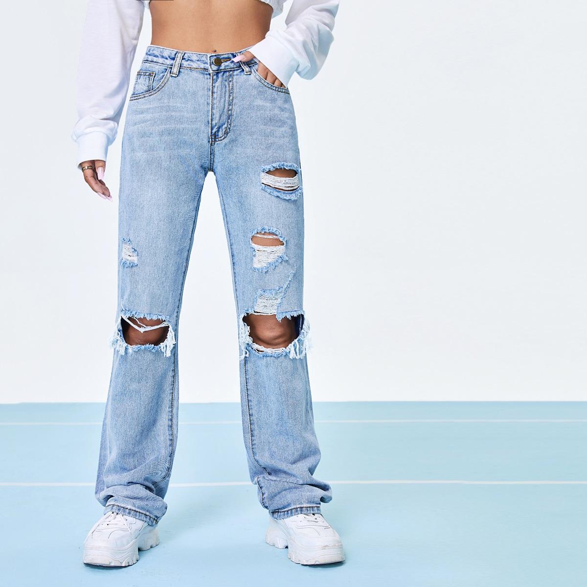 Рваные джинсы с прямыми штанинами и высокой талией