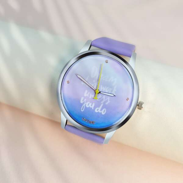 Ombre Dial Round Pointer Quartz Watch
