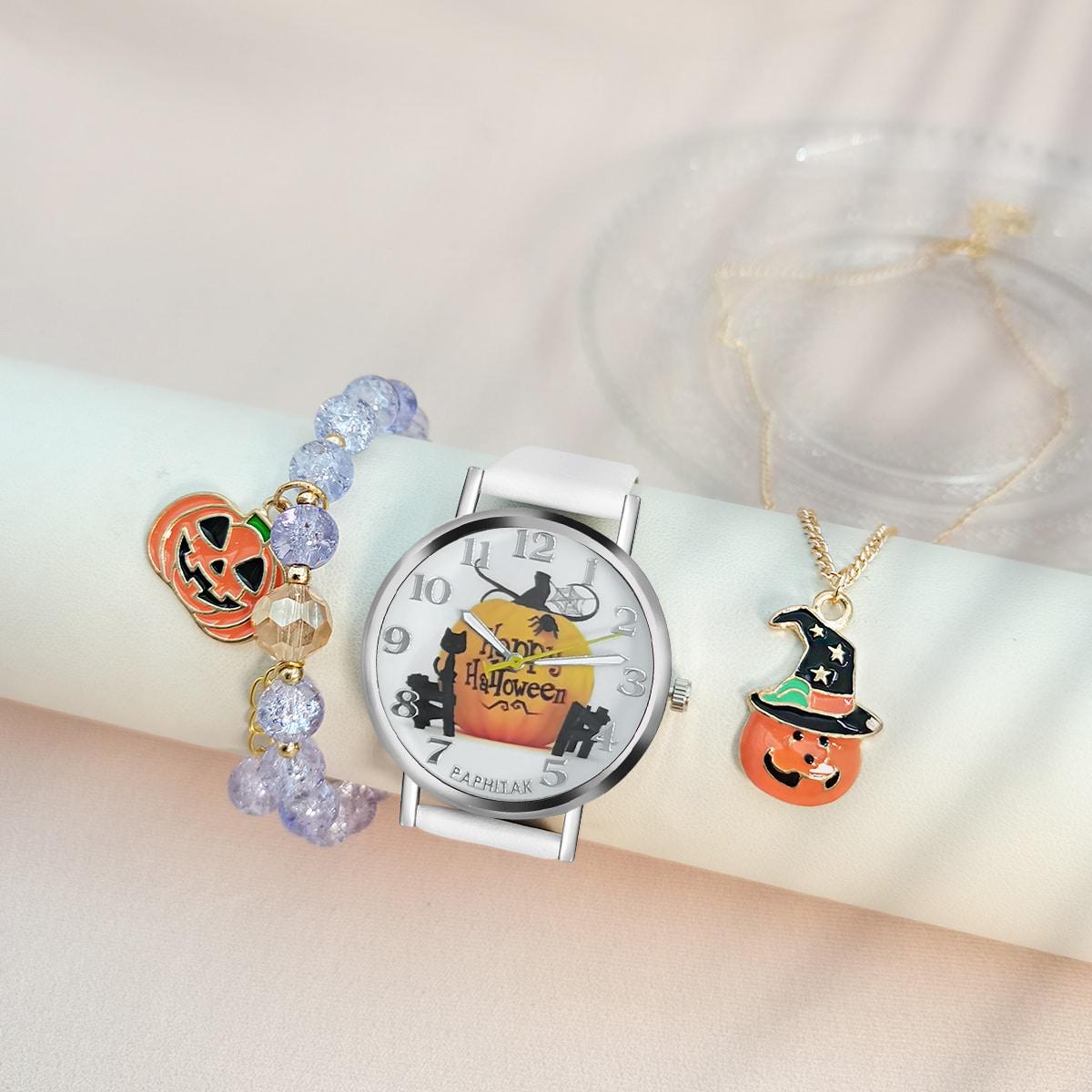 1шт Детские кварцевые часы с принтом тыквы на хэллоуин с принтом тыквы & 2шт браслет